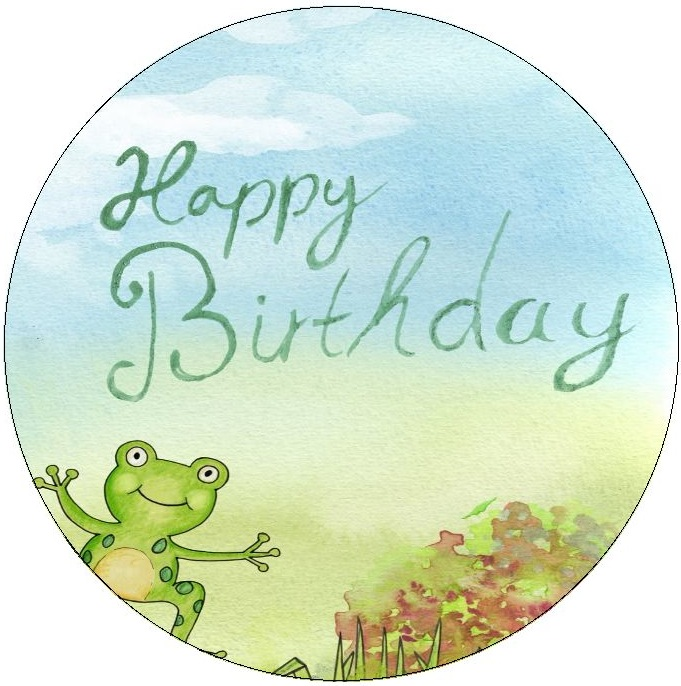 Birthday Frog Pinback Buttons and Stickers