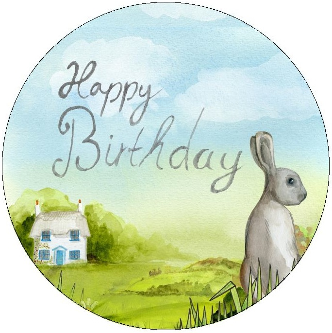 Birthday Rabbit Pinback Buttons and Stickers