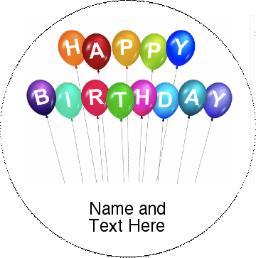 Birthday Balloon Pinback Buttons and Stickers