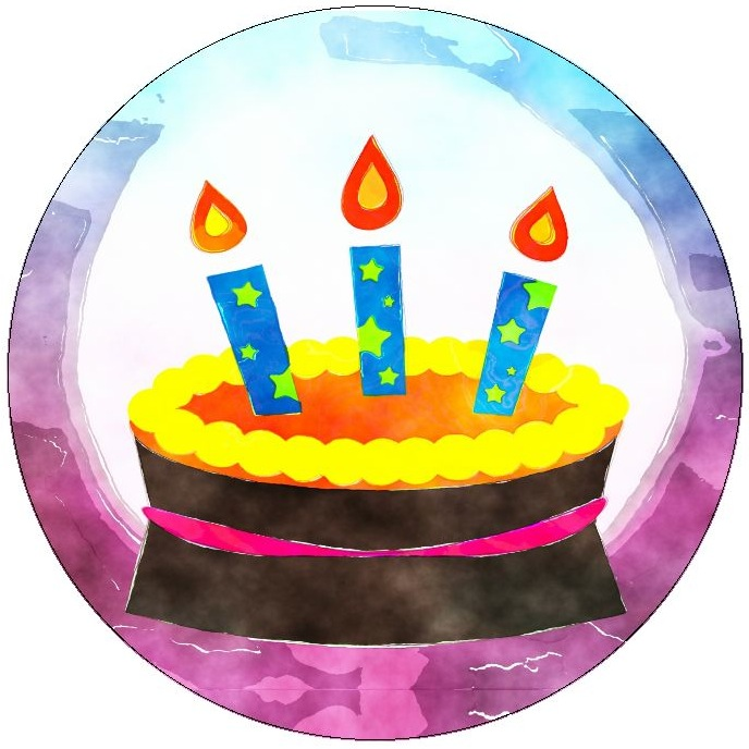 Birthday Cake Pinback Buttons and Stickers