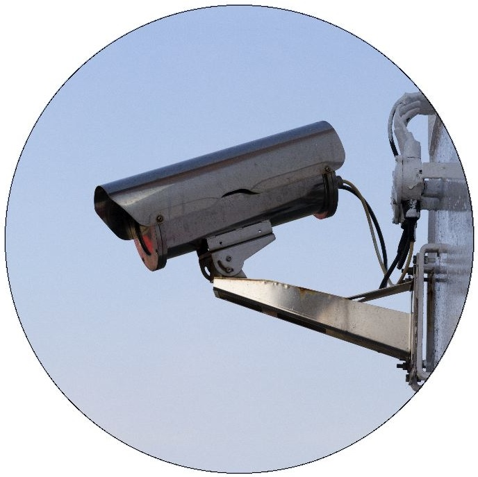 Surveillance Camera Pinback Buttons and Stickers