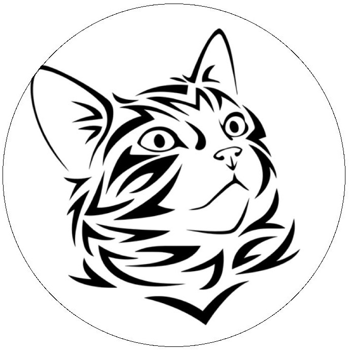 Tribal Cat Pinback Buttons and Stickers