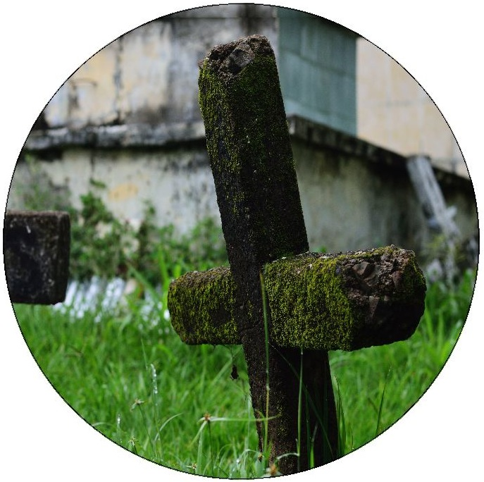 Cemetery Cross Pinback Buttons and Stickers