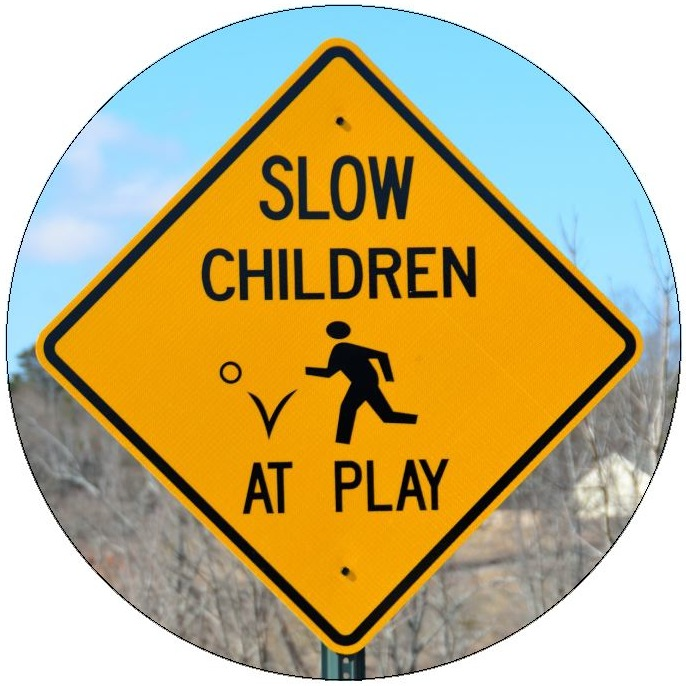 Childern At Play Sign Pinback Buttons and Stickers