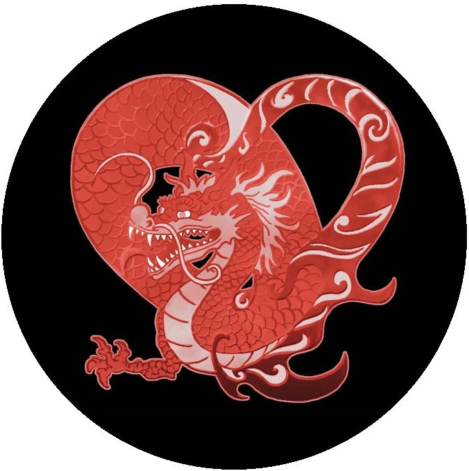 Chinese Heart Dragon Pinback buttons and Stickers
