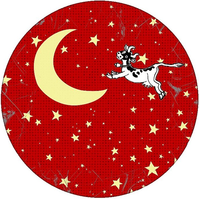 Cow Jumped Over the Moon Pinback Buttons and Sticker