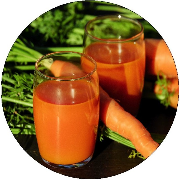 Carrot Juice Pinback Buttons and Stickers