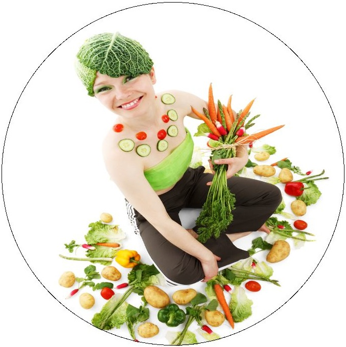 Vegetable Lady Pinback Buttons and Stickers