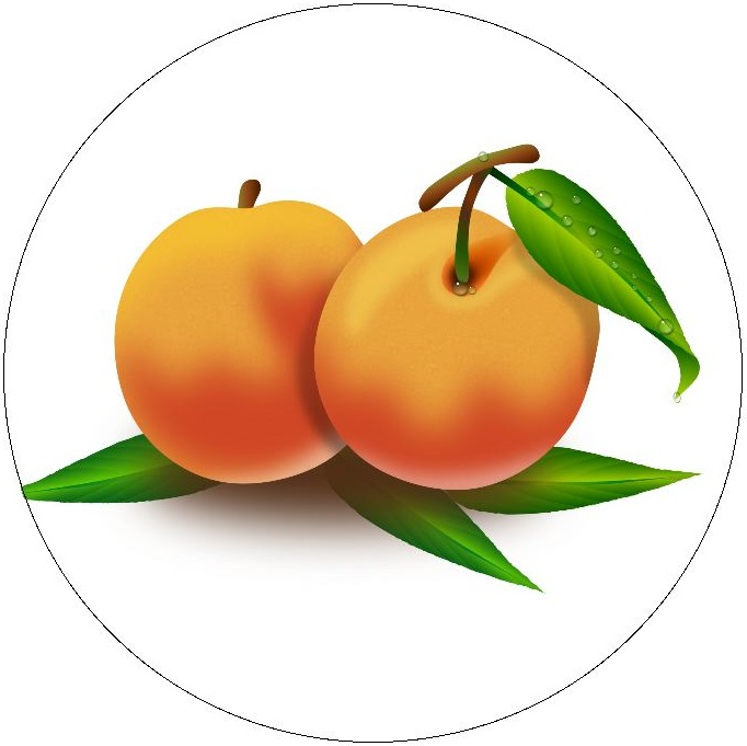 Peaches Pinback Buttons and Stickers