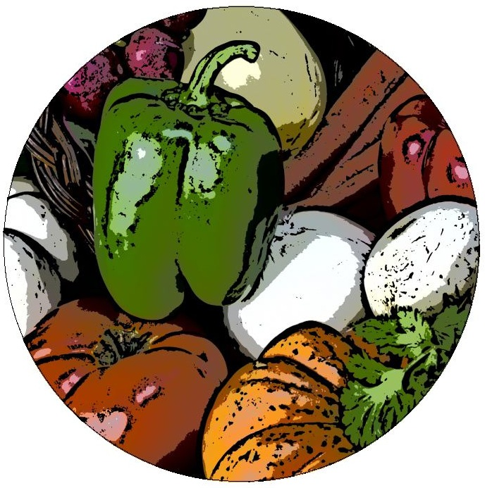 Vegetables Pinback Buttons and Stickers