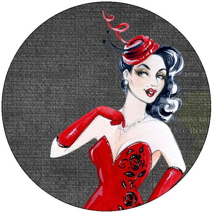 Pin-Up Girl Pinback Buttons and Stickers