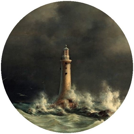 Lighthouse Pinback Painting by Anton Melbye