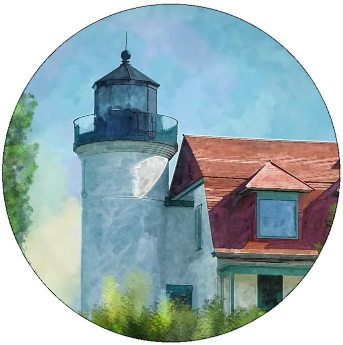Lighthouse Painting Pinback Buttons and Stickers