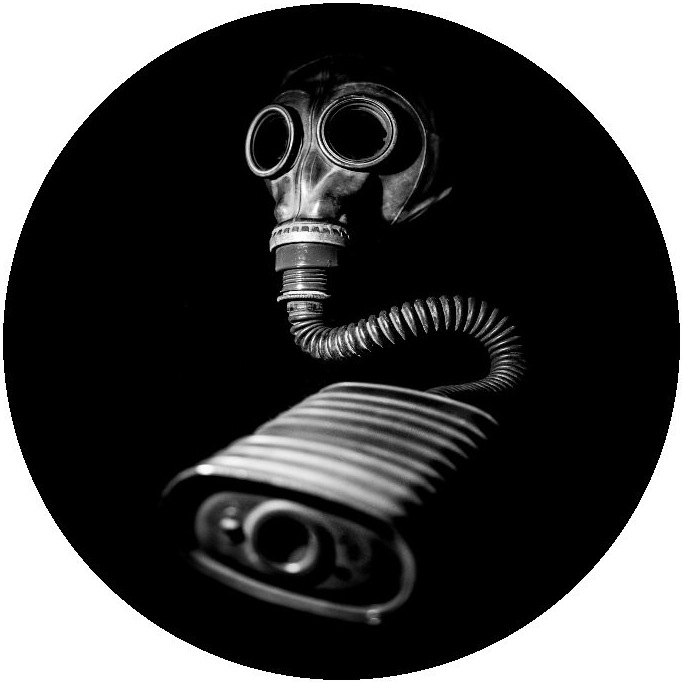 Gas Mask Pinback Buttons and Stickers