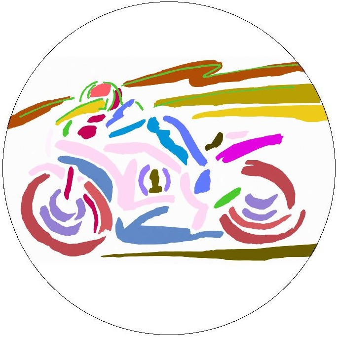 Motorcycle Art Pinback Buttons and Stickers