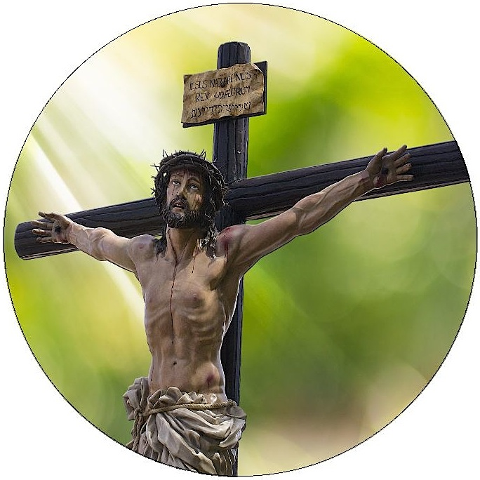 Jesus on Cross Pinback Buttons and Stickers