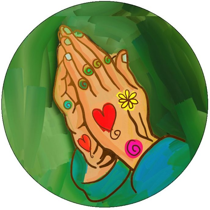 Prayer Hands Pinback Buttons and Stickers