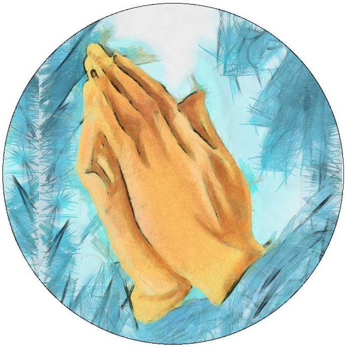 Praying Hands Pinback Buttons and Stickers