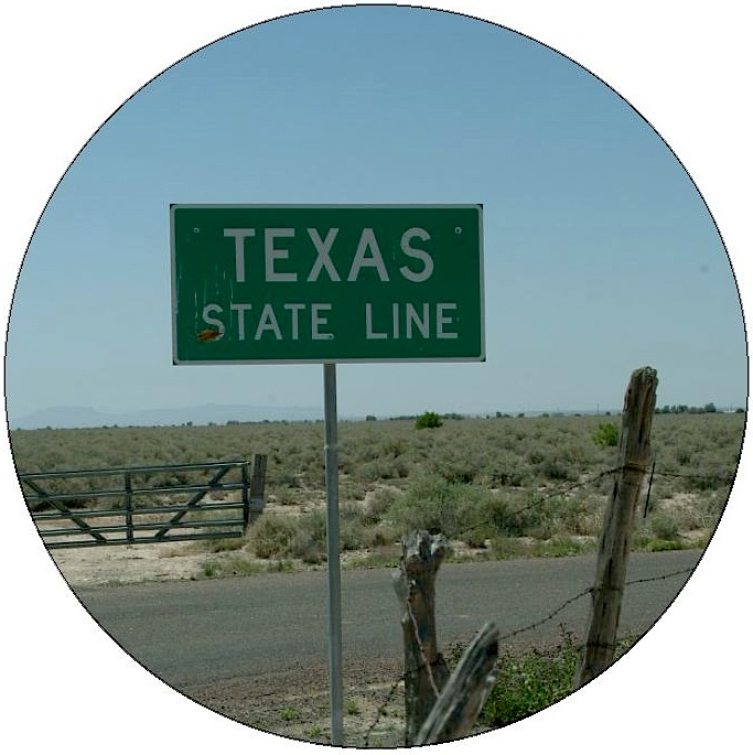 Texas State Line Pinback Buttons and Stickers