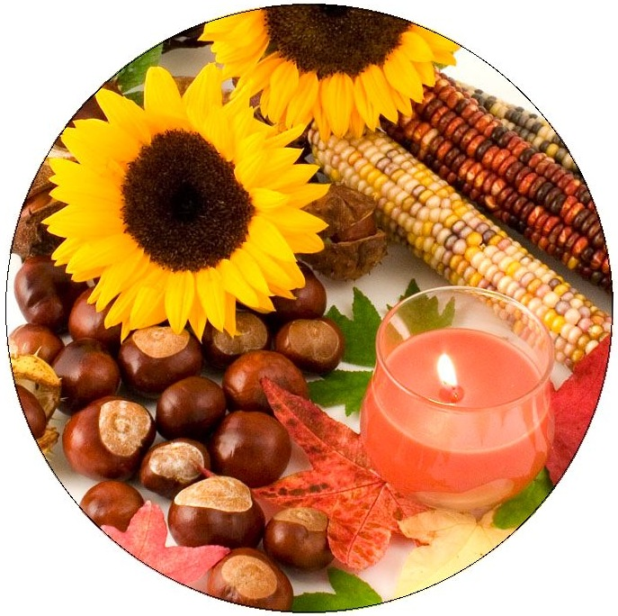 Harvest Candle Pinback Buttons and Stickers
