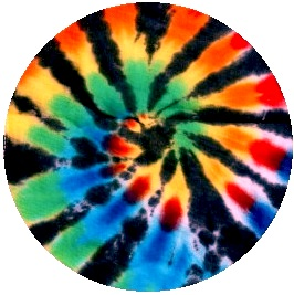 Tie-Dyed Pinback Buttons and Stickers